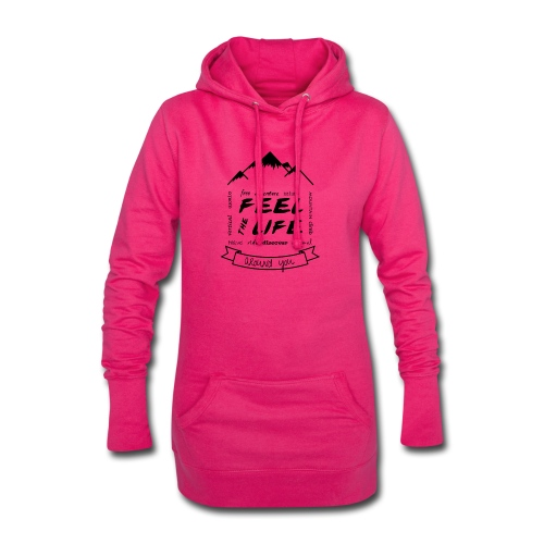 Feel the Life around you - Negro - Sudadera vestido con capucha