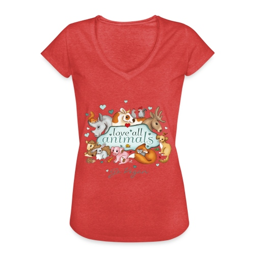 Love all animals door Maria Tiqwah - Vrouwen Vintage T-shirt