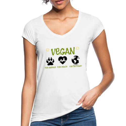 Vegan for animals, health and the environment. - Camiseta vintage mujer