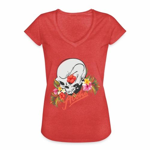 Hawaiian Skull Aloha Surfer Design - Frauen Vintage T-Shirt