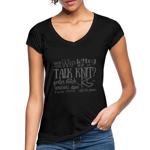 Talk Knit ?, gray - Women's Vintage T-Shirt