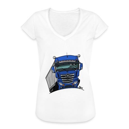 0807 M truck blauw trailer - Vrouwen Vintage T-shirt