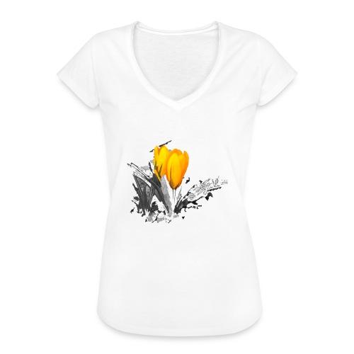 Oriental Yellow Flower - Frauen Vintage T-Shirt