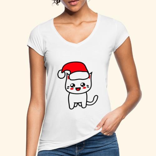 Kawaii Kitteh Christmashat - Frauen Vintage T-Shirt