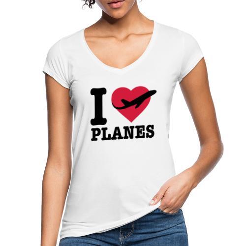 Rakastan lentokoneita - mustaa - Naisten vintage t-paita