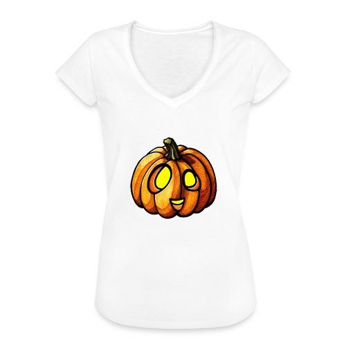 Pumpkin Halloween watercolor scribblesirii - Women's Vintage T-Shirt