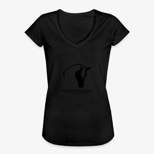 Horse Majeure Logo / Musta - Naisten vintage t-paita