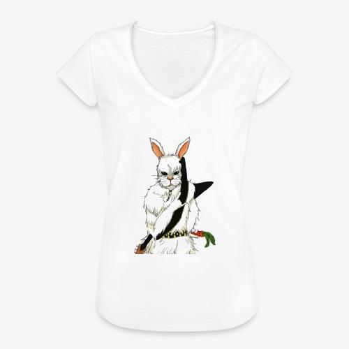 The white Rabbit - Vintage-T-skjorte for kvinner