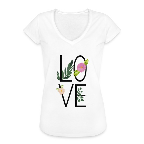 Love Sign with flowers - Women's Vintage T-Shirt