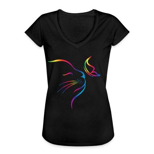 Vorschau: rainbow butterfly cat - Frauen Vintage T-Shirt
