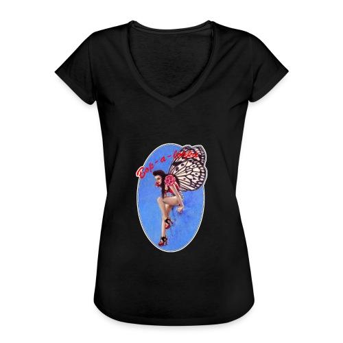 Vintage Rockabilly Butterfly Pin-up Design - Women's Vintage T-Shirt