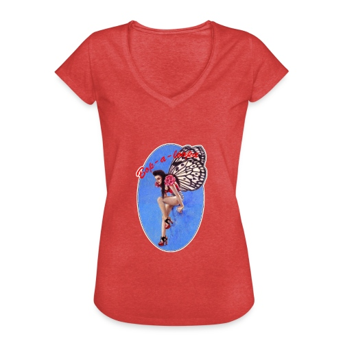Vintage Rockabilly Butterfly Pin-up Design - Women's Vintage T-Shirt