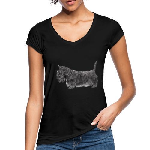 skotsk terrier ub - Dame vintage T-shirt