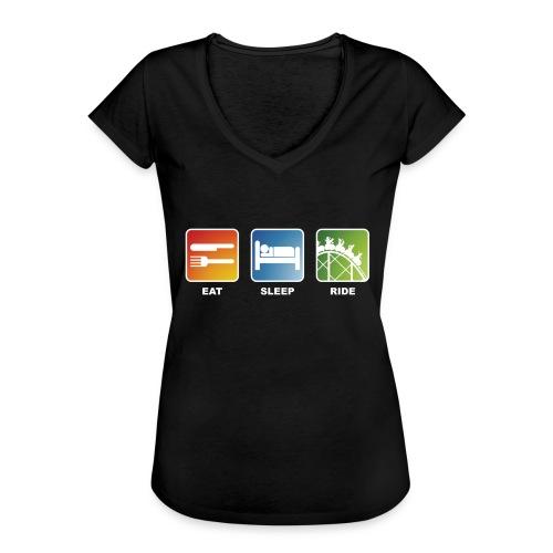 Eat, Sleep, Ride! - T-Shirt Schwarz - Frauen Vintage T-Shirt