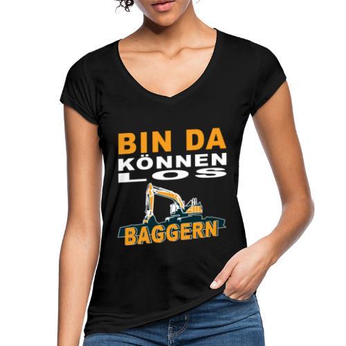 Bin da | Bagger Baustelle Baumaschine Geschenk - Frauen Vintage T-Shirt