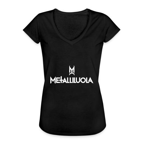 Metalliluola valkoinen logo - Naisten vintage t-paita