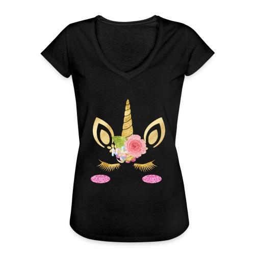 unicorn face - Frauen Vintage T-Shirt