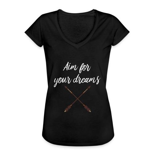 Aim for your Dreams white - Naisten vintage t-paita