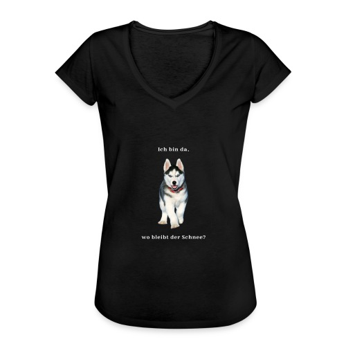 Husky Welpen mit bezaubernden Augen - Frauen Vintage T-Shirt
