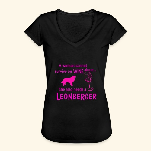 Wine&Leonberger - Vintage-T-shirt dam