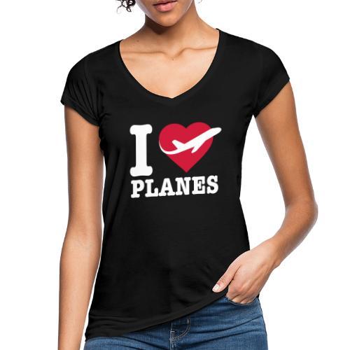 Rakastan lentokoneita - valkoisia - Naisten vintage t-paita