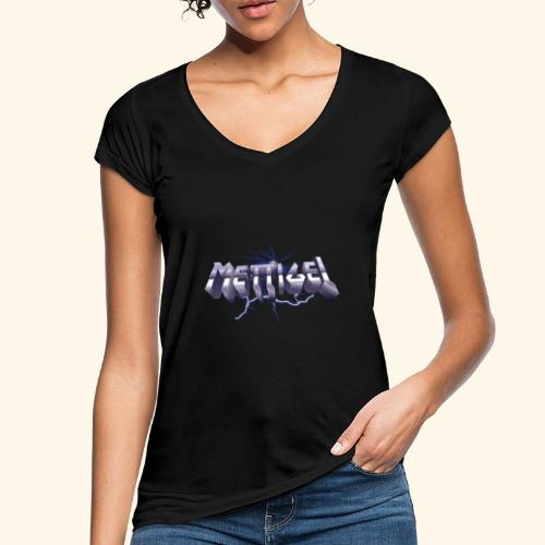 Mettigel T Shirt Design Heavy Metal Schriftzug - Frauen Vintage T-Shirt