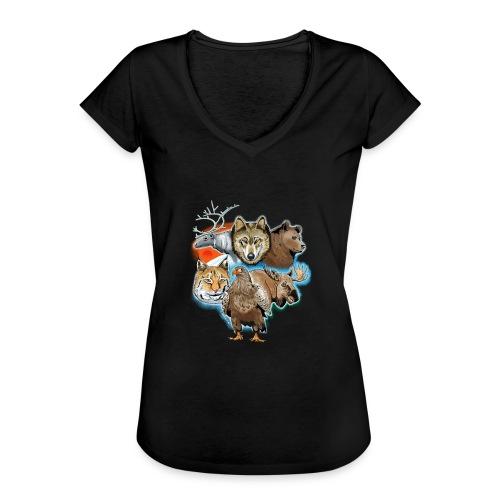 10 01 Wild life - Susi, poro, karhu, ilves, kotka - Naisten vintage t-paita