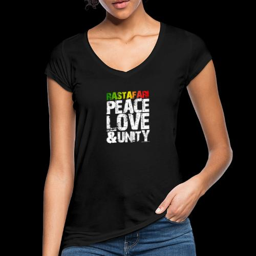 RASTAFARI - PEACE LOVE & UNITY - Frauen Vintage T-Shirt