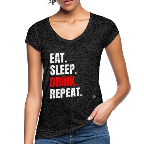 EET SLAAP DRANK HERHALEN Shirt - Drinkende partij T-shirt - Vrouwen Vintage T-shirt