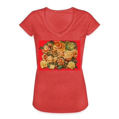 Flowerdesignrødbaggrund - Dame vintage T-shirt