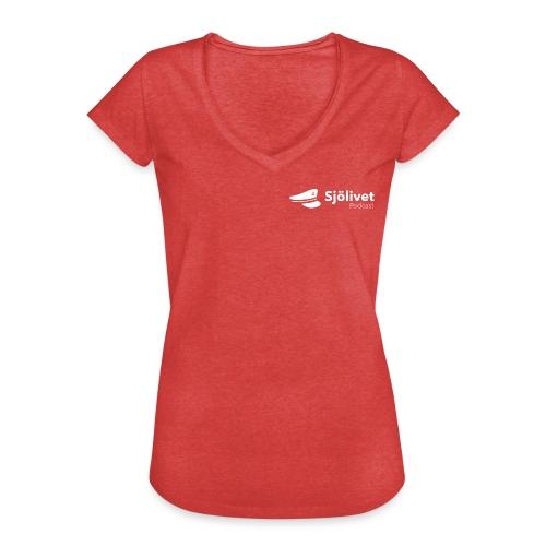 Sjölivet podcast - Vit logotyp - Vintage-T-shirt dam