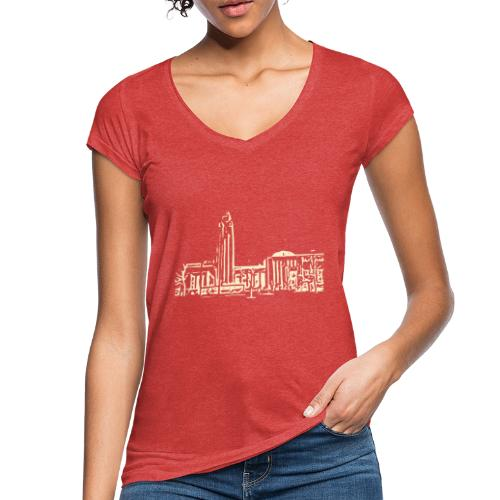 Helsinki railway station pattern trasparent beige - Women's Vintage T-Shirt