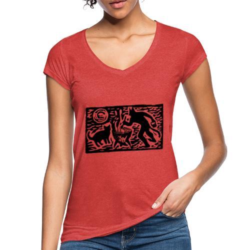 Teufel mit Katze - Frauen Vintage T-Shirt