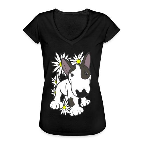 Bull Terrier Pup Daisies - Women's Vintage T-Shirt