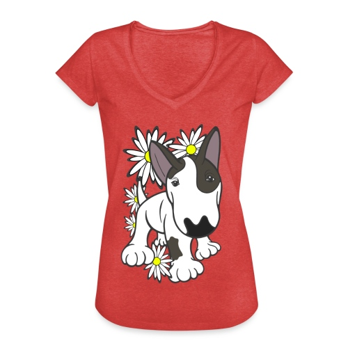Bull Terrier Pup Daisies - Women's Vintage T-Shirt
