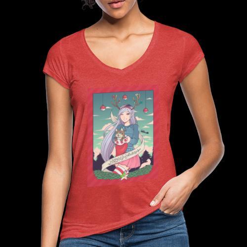 christmas linneafly gray - Vintage-T-skjorte for kvinner