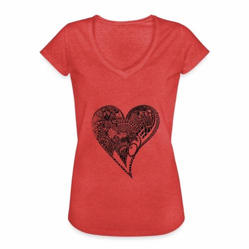 Heart black - Frauen Vintage T-Shirt