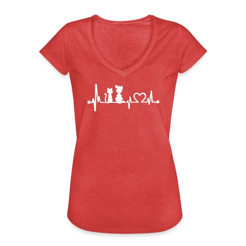 Vorschau: dog cat heartbeat - Frauen Vintage T-Shirt