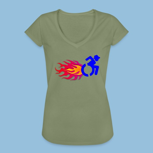Wheelchair with flames 012 - Vrouwen Vintage T-shirt