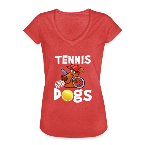 Tennis And Dogs Funny Sports Pets Animals Love - Frauen Vintage T-Shirt