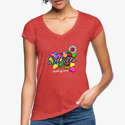 SOLRAC Hearts black - Camiseta vintage mujer