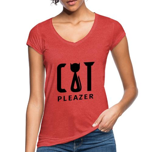 Cat Pleazer Schwarz - Frauen Vintage T-Shirt