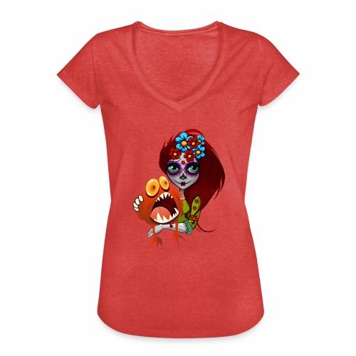 Catrina con Monstruo - Camiseta vintage mujer