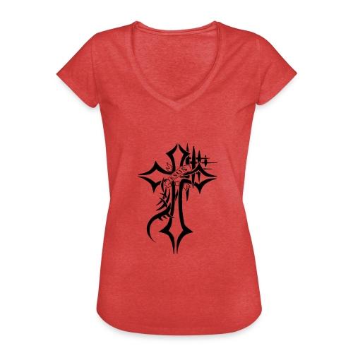 cross - Vintage-T-skjorte for kvinner