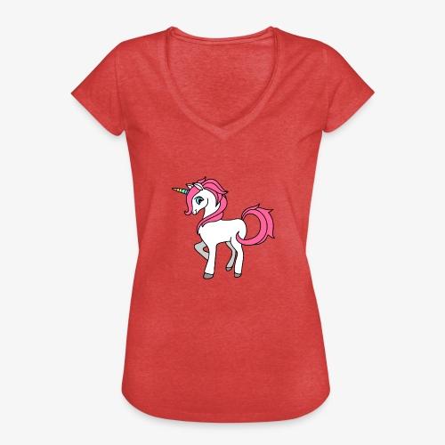 Süsses Einhorn mit rosa Mähne und Regenbogenhorn - Frauen Vintage T-Shirt