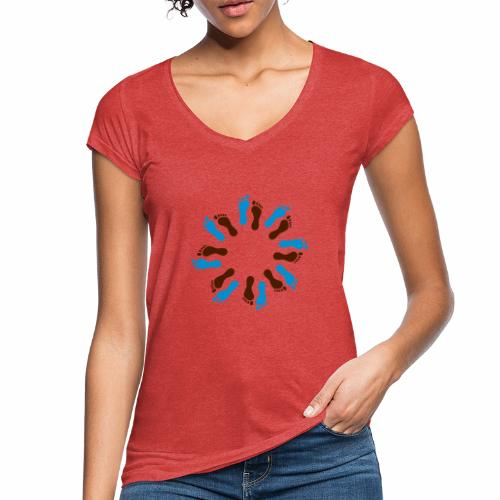 Barfuß-Kreis blau-braun - Frauen Vintage T-Shirt