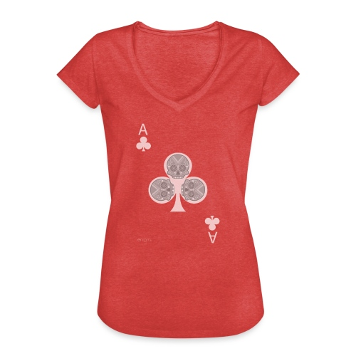 Ace of clubs -gray version- The skulls players - T-shirt vintage Femme