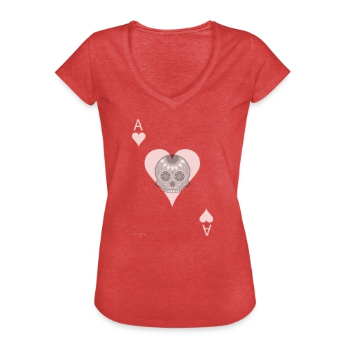 Ace of hearts -gray version- The Skulls Players - T-shirt vintage Femme