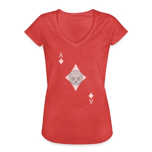 Ace of diamonds -gray version- The Skulls Players - T-shirt vintage Femme