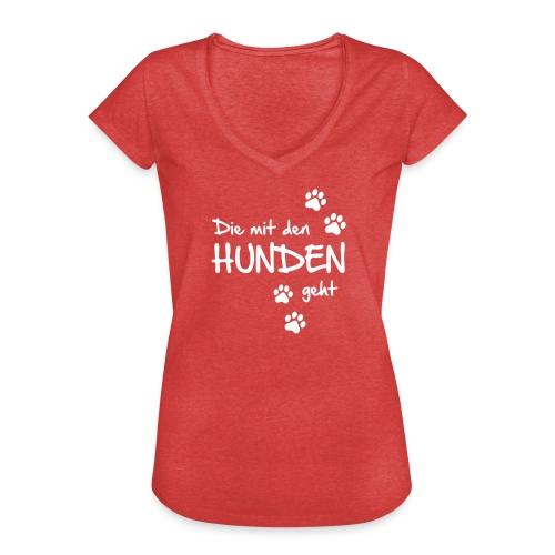 Vorschau: Die mit den Hunden geht - Frauen Vintage T-Shirt